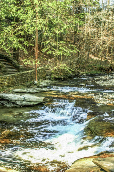 Small Waterfall In Creek And Stone Stairs Poster