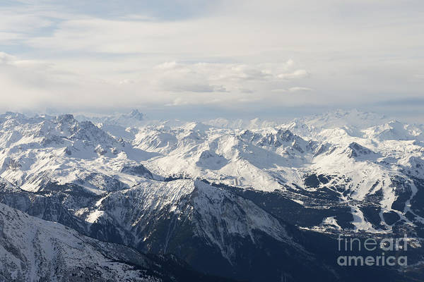 Snow Covered Alps Mountains Aerial View Poster