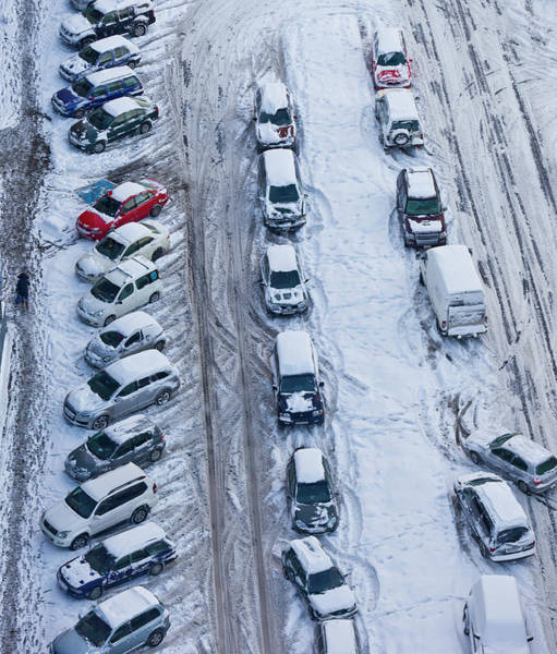 Snow Covered Cars In Parking Lot Poster