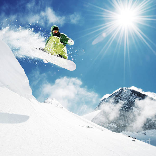 Snowboarder At Jump Inhigh Mountains At Poster