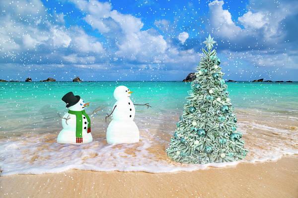 Snowy Couple On Christmas Tree Beach Poster