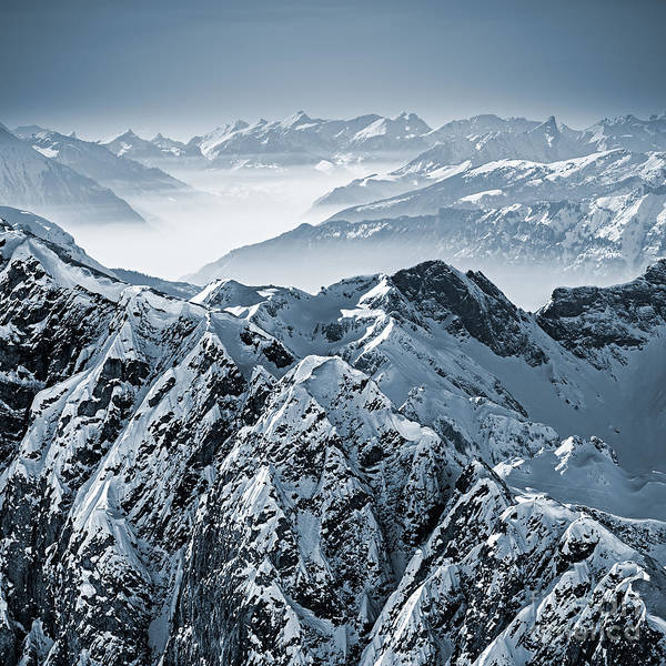 Snowy Mountains In The Swiss Alps. View Poster