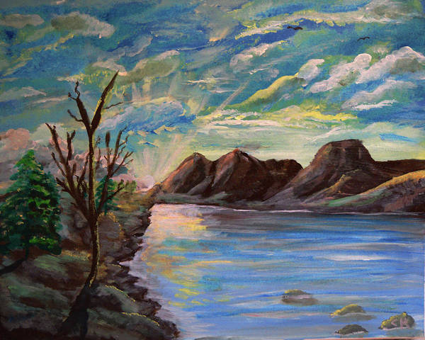 Poster featuring the painting Snowy Range And Lookout Lake by Chance Kafka
