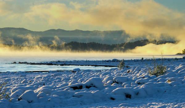 Snowy Shoreline Sunrise Poster
