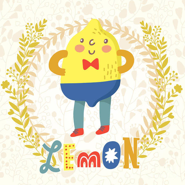 Sour Lemon In Funny Cartoon Style Poster