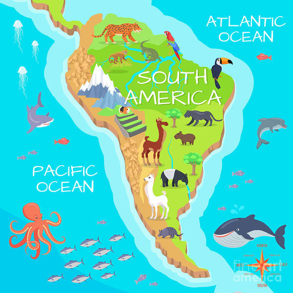 South America Mainland Cartoon Map With Poster
