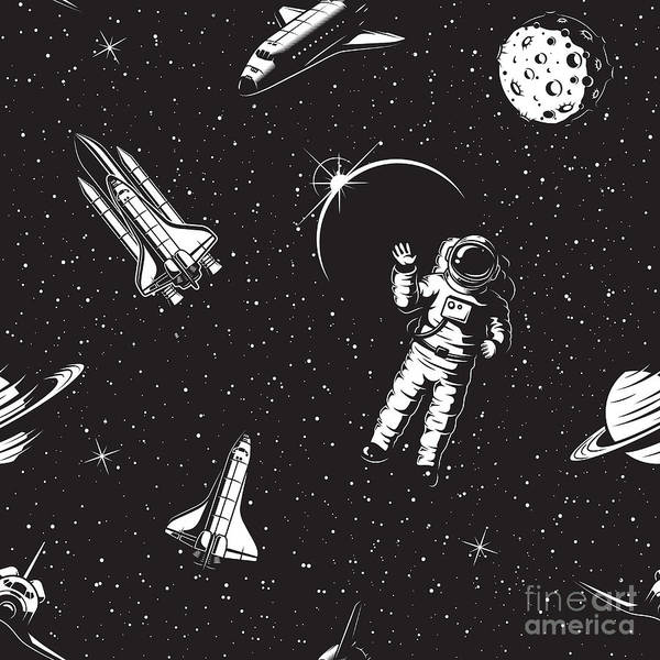 Space Seamless Pattern. Black And White Poster
