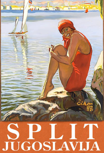 Split, Yugoslavia, Croatia, Woman Sitting On The Rock Poster