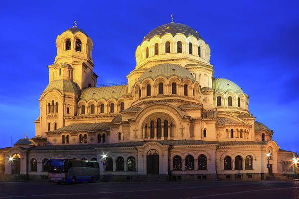 St Alexander Nevsky Cathedral At Dusk Sofia Bulgaria Poster