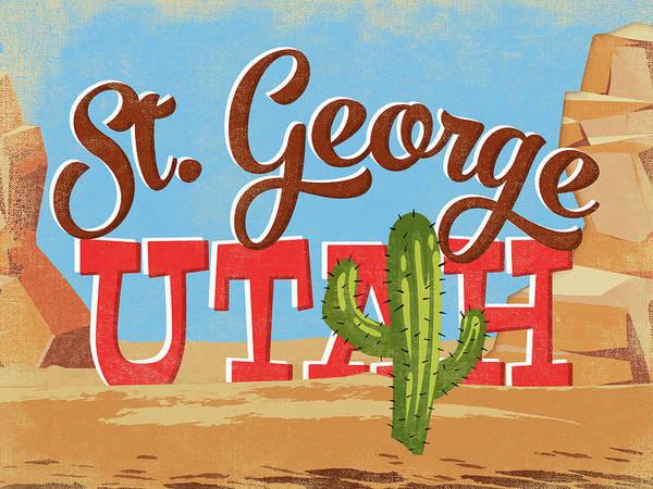 St George Utah Cartoon Desert Poster