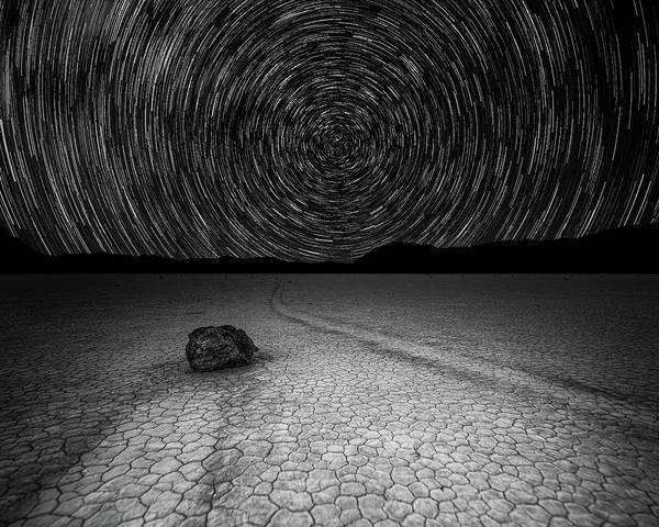 Star Trails Over Racetrack Playa Black And White Poster