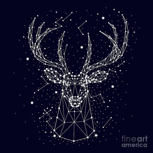 Starry Sky, Constellation, Deer Poster