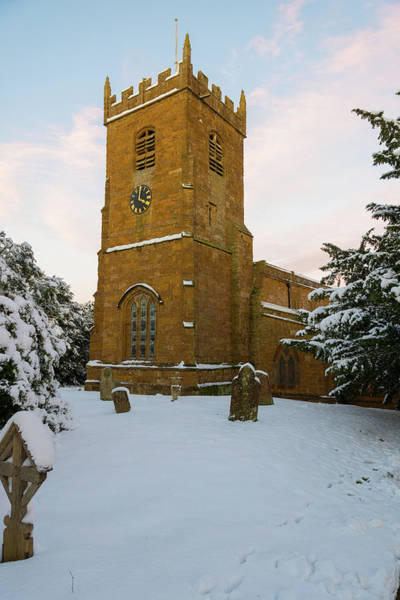 Stone Church In The Snow At Sunset Poster
