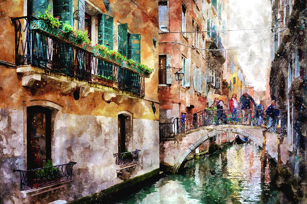 People On Bridge Over Canal In Venice, Italy - Watercolor Painting Effect Poster