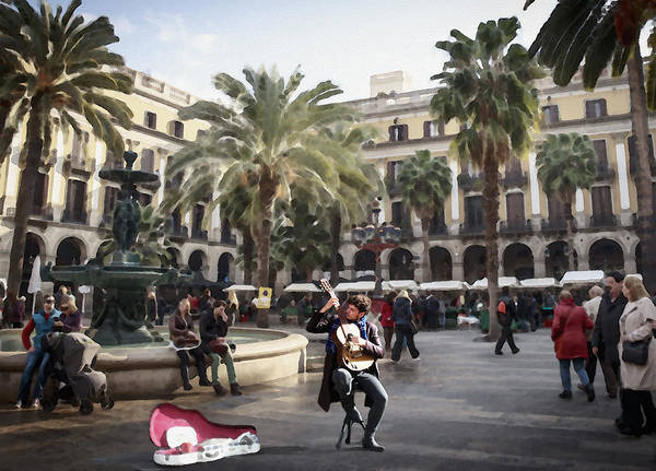 Street Music. Guitar. Barcelona, Plaza Real. Poster