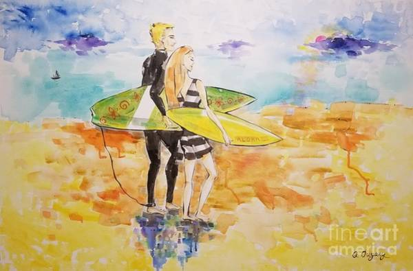 Surfer Couple Poster