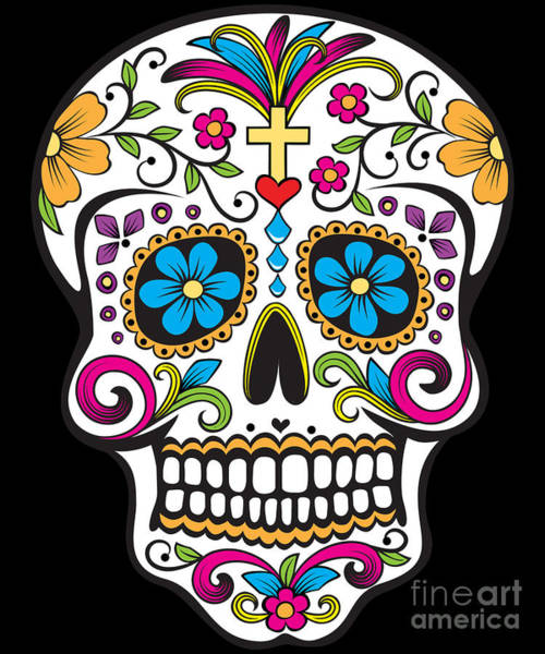 Poster featuring the digital art Sugar Skull Day Of The Dead by Flippin Sweet Gear