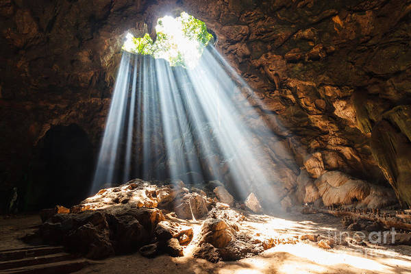 Sun Beam In Cave Poster