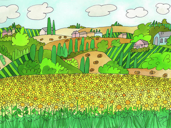 Sunflower French Countryside Poster
