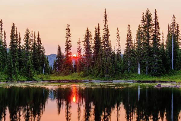 Sunrise From The Reflection Lake Poster