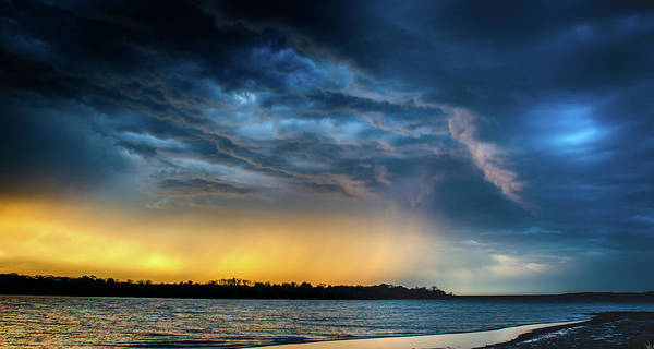 Poster featuring the photograph Sunrise Storm Pano by Jeff Phillippi