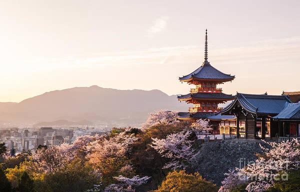 Sunset At Kiyomizu-dera Temple And Poster