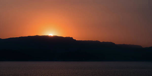 Sunset At Over The Mountains In The Red Sea Poster