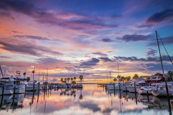 Sunset At The Marina Poster