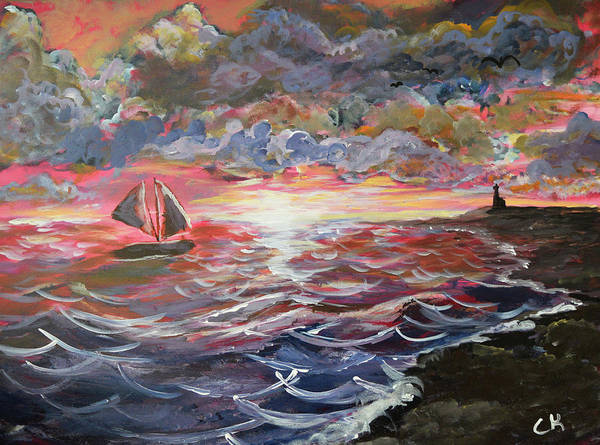 Poster featuring the painting Sunset Of The Sea by Chance Kafka