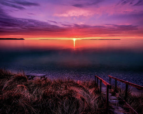 Sunset On Good Harbor Bay Poster