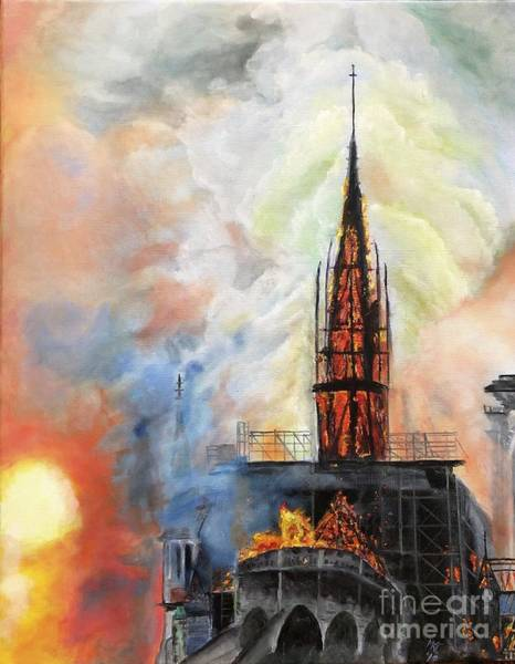 Sunset On Notre Dame Poster
