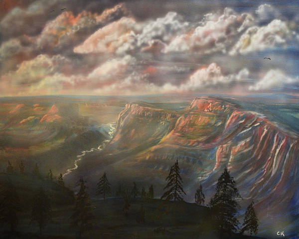 Poster featuring the painting Sunset Over The Grand Canyon At Desert View Point by Chance Kafka