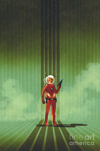 Super Hero In Red Suit Holding Gun Over Poster