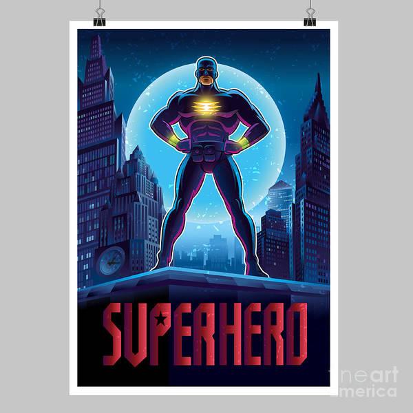 Superhero In Action. Superhero In The Poster
