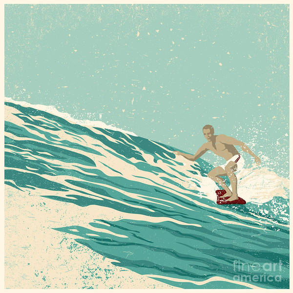 Surfer And Big Wave. Vector Poster