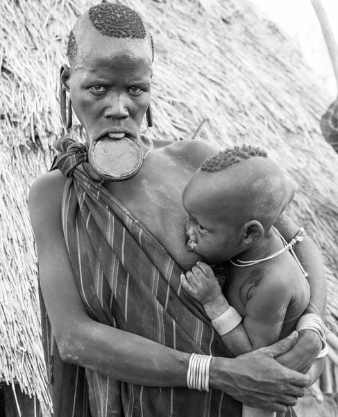 Mursi Mother And Child Poster