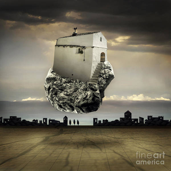 Surreal Landscape With A Flying House Poster