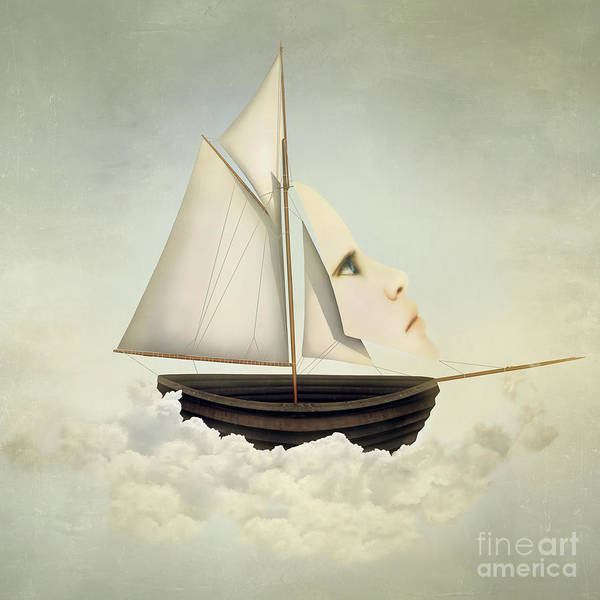 Surreal Vessel Above The Clouds With Poster