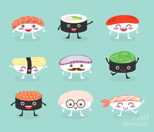 Sushi Set, Cute Sushi Set, Japanese Poster