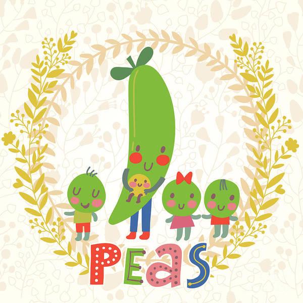 Sweet Peas In Cute Cartoon Style Poster