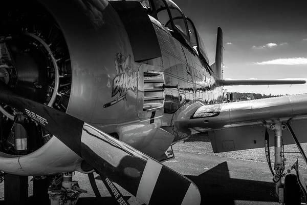 T-28b Trojan In Bw Poster