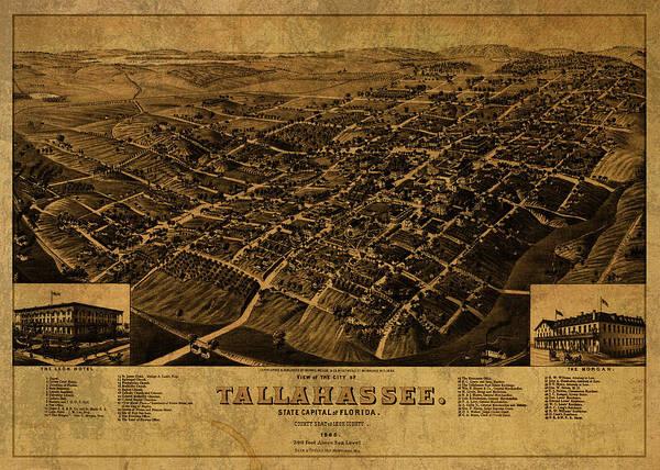 Tallahassee Florida Vintage City Street Map 1885 Poster
