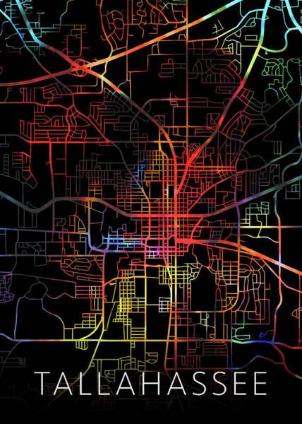 Tallahassee Florida Watercolor City Street Map Dark Mode Poster
