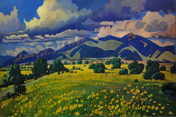 Taos Yellow Flowers Poster