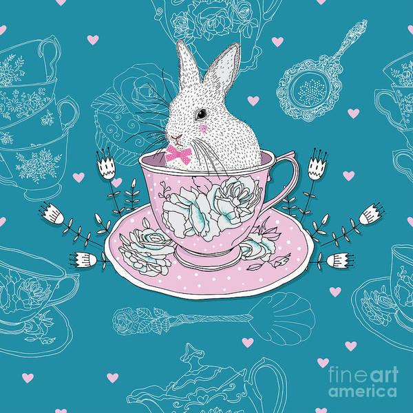 Tea Cups, Teapot, Teaspoons ,rabbit Poster