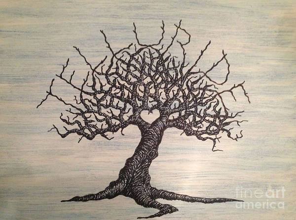 Poster featuring the drawing Telluride Love Tree by Aaron Bombalicki