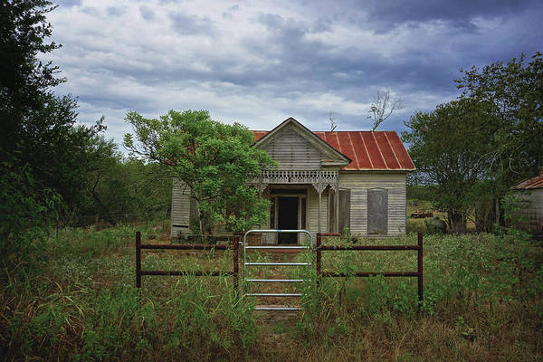 Texas Farmhouse In Storm Clouds Poster