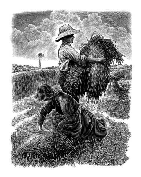 Poster featuring the drawing The Harvesters - Bw by Clint Hansen