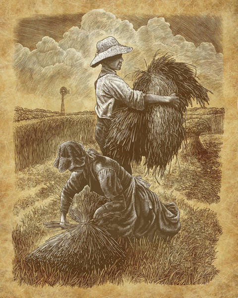Poster featuring the drawing The Harvesters by Clint Hansen