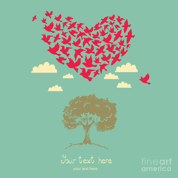 The Heart Of The Birds. Love Colorful Poster